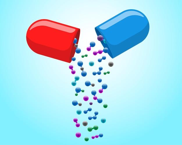 Медицинская капсула, таблетка, открытая с выпадающими разноцветными молекулами, лекарство, лекарство, витамин, улучшает здоровье