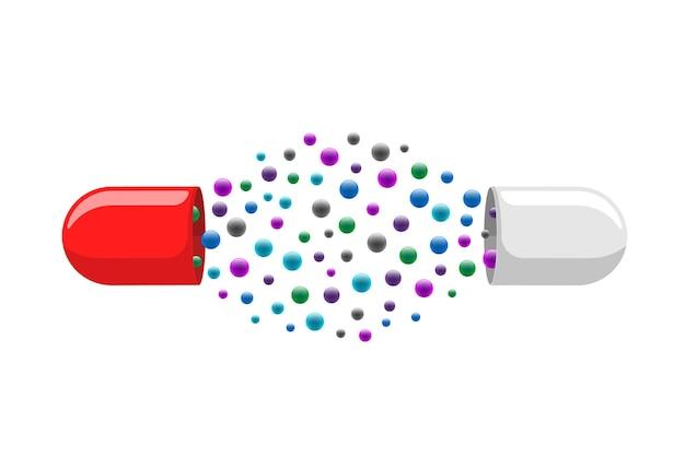 Открытая медицинская капсула с множеством красочных молекул, лекарство, лекарство, витамин, улучшение концепции здоровья