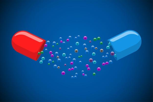 Медицинская капсула-таблетка открыта с множеством разноцветных молекул на синем фоне, лекарство, лекарство, витамин