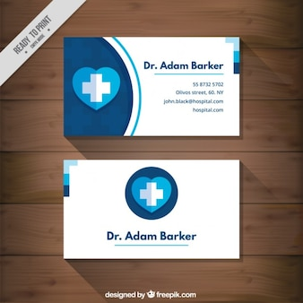 Medical card with a blue heart Premium Vector