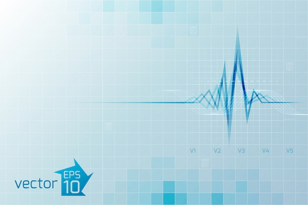 Medical cardio with cardiogram in digital style on light blue