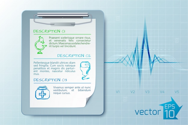 Medical care concept with clipboard text three descriptions sketch icons on light cardio isolated