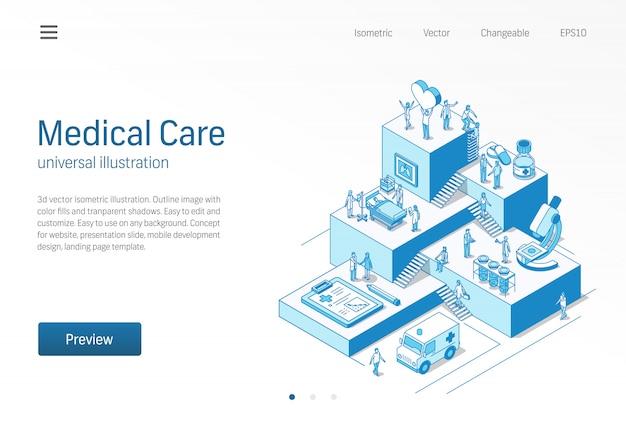 의료. 의사와 간호사 건강 관리 팀워크입니다. 코로나 바이러스 환자 치료 아이소 메트릭 라인 일러스트 병원, 진료소 연구, 실험실 진단 아이콘. 성장 단계 infographic 3d 개념