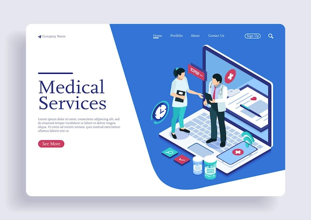 Medical care doctor and nurse healthcare teamwork isometric concept