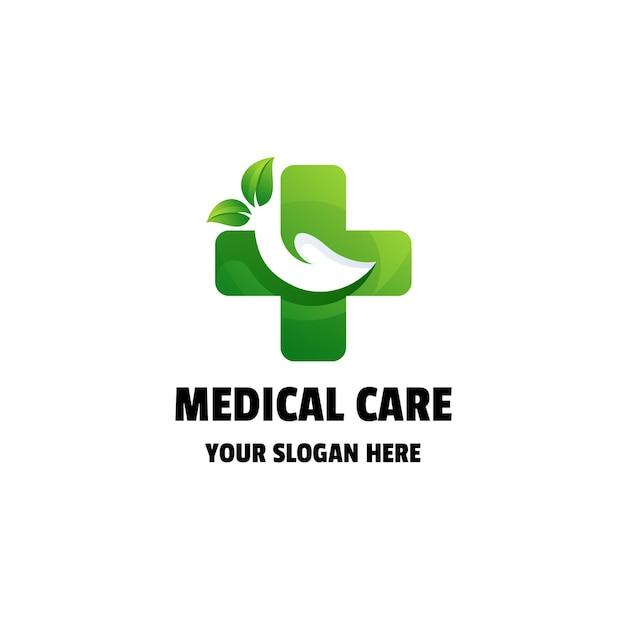 Medical care gradient logo template