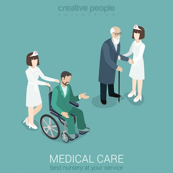 Medical care nurse doctor medicine hospital staff healthcare insurance flat isometric concept female in uniform with old man and patient on wheelchair  .