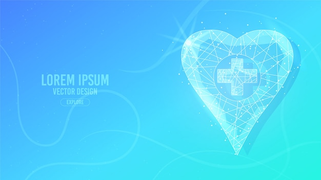 Medical care point location geometric lines, low poly style wireframe vector banner template. isolated medicine science technology concept blue background.