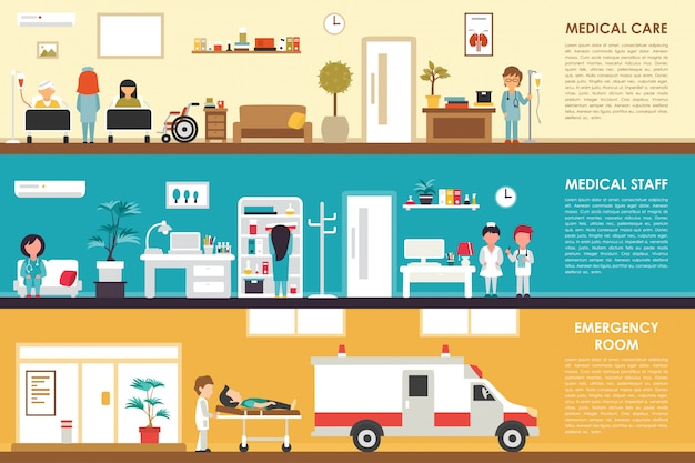 Medical care and staff emergency room flat hospital interior concept web vector illustrati