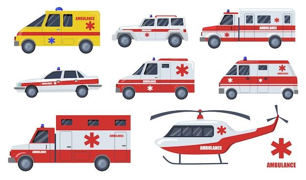 医療輸送フラットアイテムセット。漫画の救急車や車両は、孤立したベクトルイラストコレクションを設計します。緊急事態、輸送、援助サービスおよび迅速な救助の概念