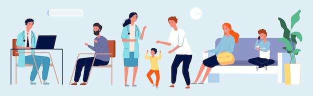 Медицинский центр. кабинет врача с пациентами. педиатр, терапевт персонажей. иллюстрация персонала больницы.