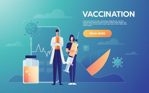 의료 캐릭터 컨셉 디자인. 주사기 치료를 들고 의사와 간호사 병원 직원 문자