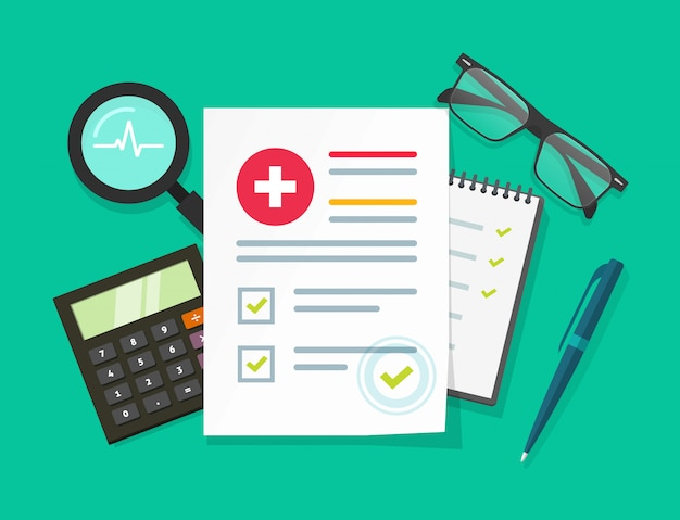 Medical check list or health analysis research report illustration in flat cartoon design