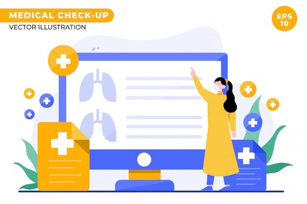 Medical check up concept illustration for landing page