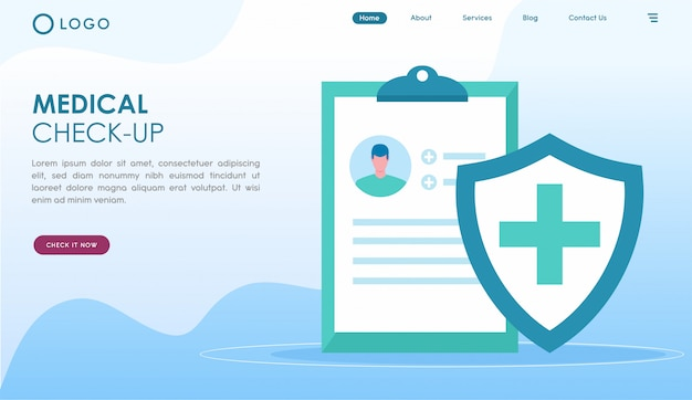 Medical check up landing page in flat style