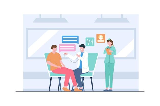 Медицинский осмотр врачом сцены иллюстрации