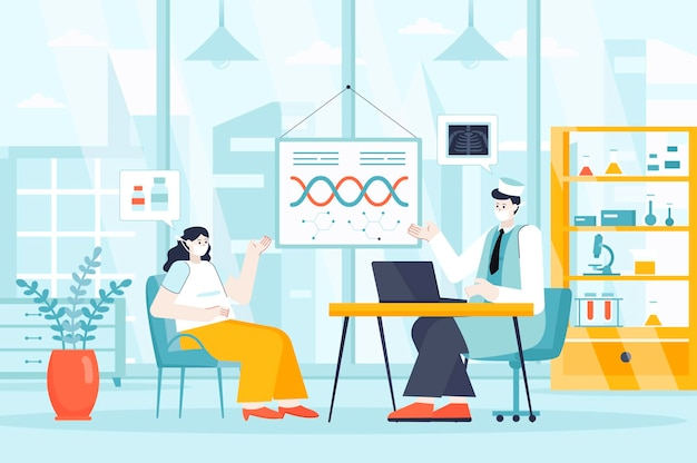 Medical clinic concept in flat design illustration of people characters for landing page