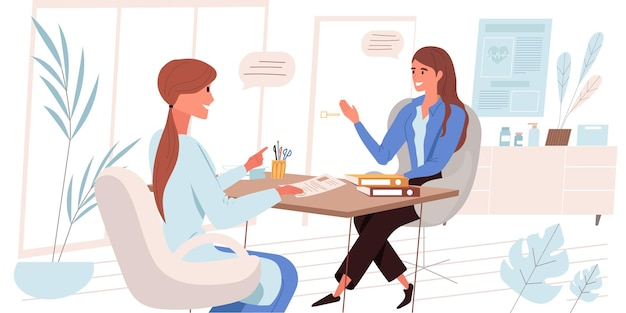 Medical clinic concept in flat design. patient is talking to doctor in office. therapist consults woman, diagnoses her and prescribes treatment. medical services, people scene. vector illustration