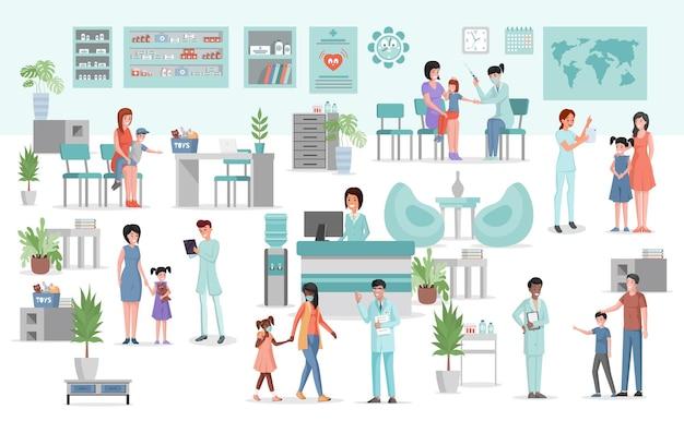 Интерьер медицинской клиники с мебелью и оборудованием плоской иллюстрации