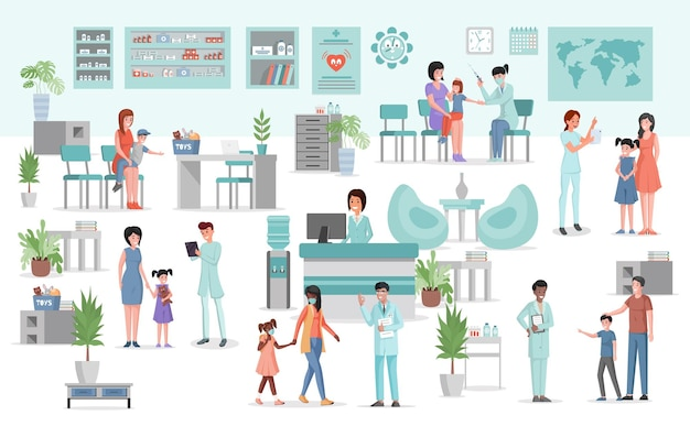 Medical clinic interior with furniture and equipment flat illustration