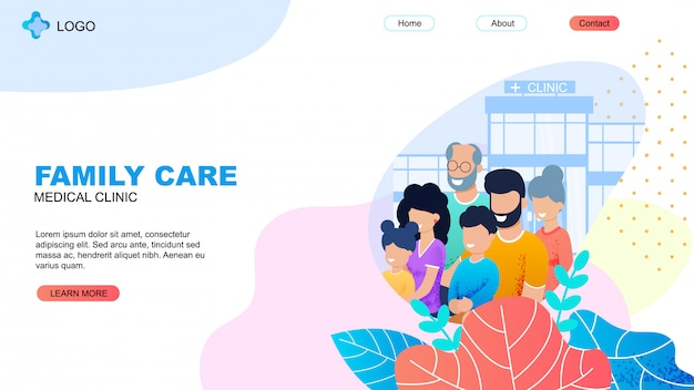 Medical clinic landing page with family care title