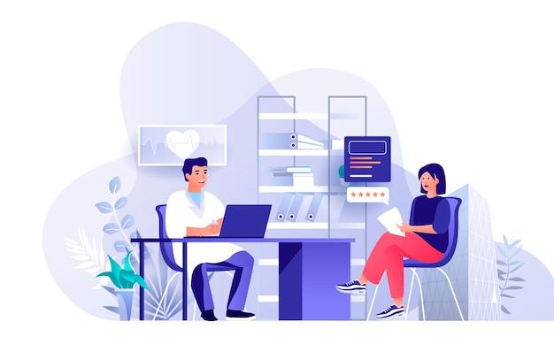 평면 디자인 컨셉에 사람들이 문자의 의료 클리닉 서비스 장면 그림