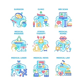 Medical clinic set icons vector illustrations. medical nurse massage and law advocate, laser and mri scan hospital equipment, stress therapy and surgeon treatment color illustrations
