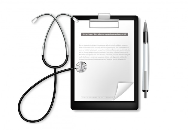 Medical clipboard with stethoscope realistic.