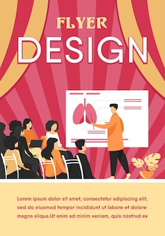 Medical college professor teaching students. doctor presenting human lungs infographics to audience at conference. flyer template