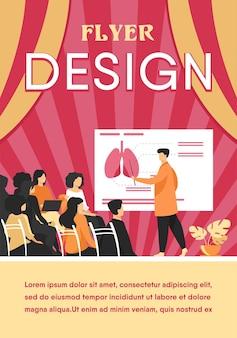 Professore universitario di medicina che insegna agli studenti. medico che presenta infographics di polmoni umani al pubblico alla conferenza. modello di volantino