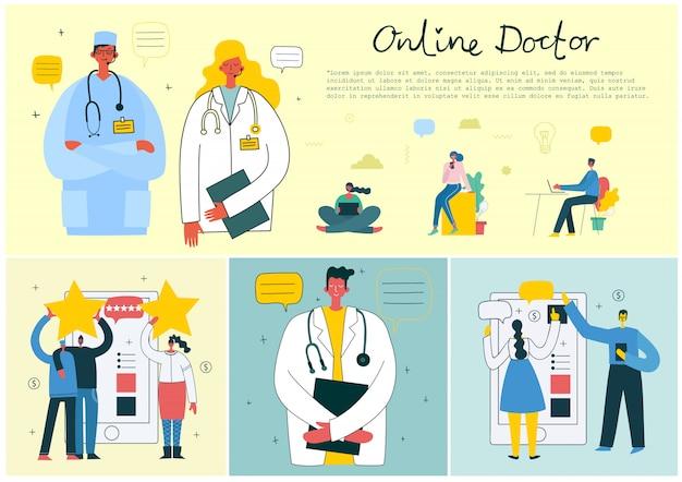 Медицинская компания сервис онлайн доктор концепции. иллюстрация медицинской плоской концепции цифровая доктора с шлемофоном говоря на телефоне для медицинской консультации.