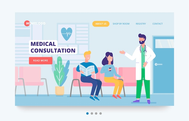 Medical concept banner template. hospital services site header. illustration of medical care with characters of doctor, patients in a hospital reception. can use for clinic backgrounds.