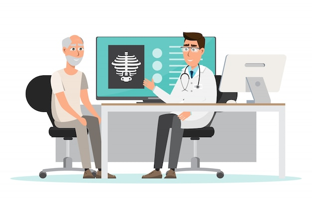 Medical concept. doctor and patient in hospital interior room