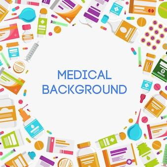 Медицинская концепция иллюстрации с лекарствами, таблетками, капсулами, бутылками, витаминами, таблетками, лекарством, антибиотиком