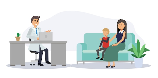 의료 개념, 병원 의료 사무실에서 여자와 아이 환자와 남성 의사. 상담 및 진단입니다. 평면 벡터 만화 캐릭터 그림입니다.