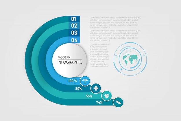 종이 디자인 infographic에 의료 개념