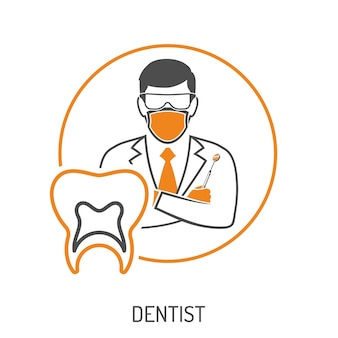 치과 의사 캐릭터, 치과 거울 및 치아와 의료 개념. 평면 스타일 두 가지 색상 아이콘입니다. 격리 된 벡터 일러스트 레이 션