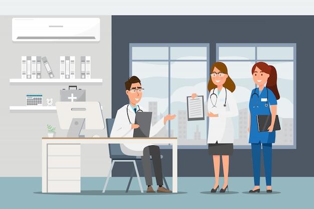 병원 홀에 평면 만화 의사와 환자와 의료 개념