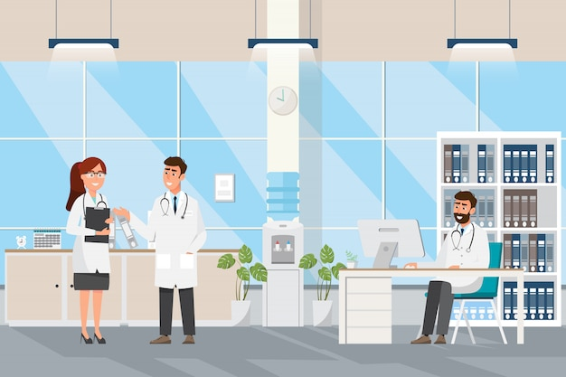 Medical concept with doctor and patients in flat cartoon at hospital hall