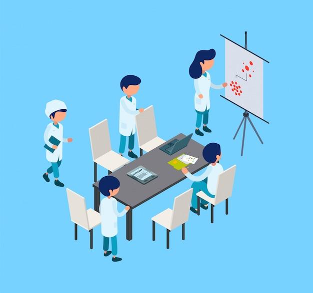 Medical conference. isometric surgery team, medical training. medicine, healthcare illustration