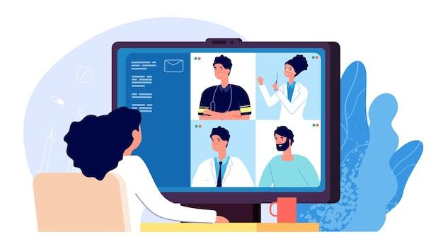 オンライン医療会議。医師のビデオ通話、救急看護師のヘルスケアコミュニケーション。遠隔医療、科学距離ディスカッションベクトルイラスト。会議の医師の相談、オンラインのアドバイスビデオ