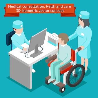 Medical consultation. health care 3d isometric concept. healthcare and patient, hospital professional, clinic