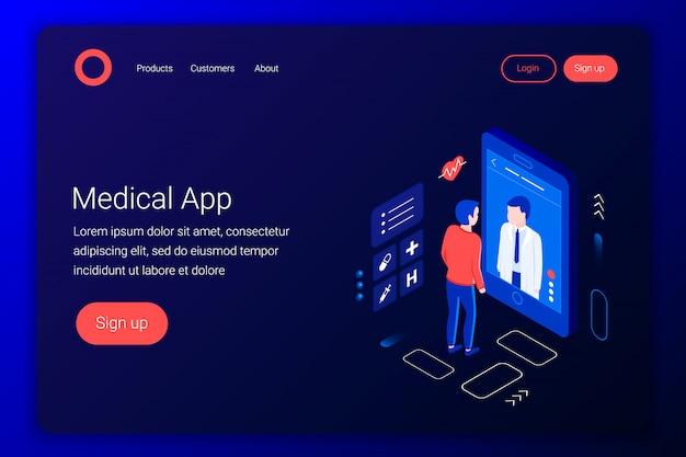 医療相談等尺性概念。医師は画面を通して患者と話します。オンライン診断。オンライン医療アプリケーション。平らな3 dスタイル。ランディングページテンプレート。図。