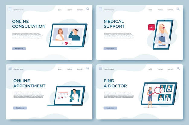 Medical consultation landing pages. online doctor support, health services, find specialist and make appointment. medicine vector web page. curing disease or illness from home during pandemic