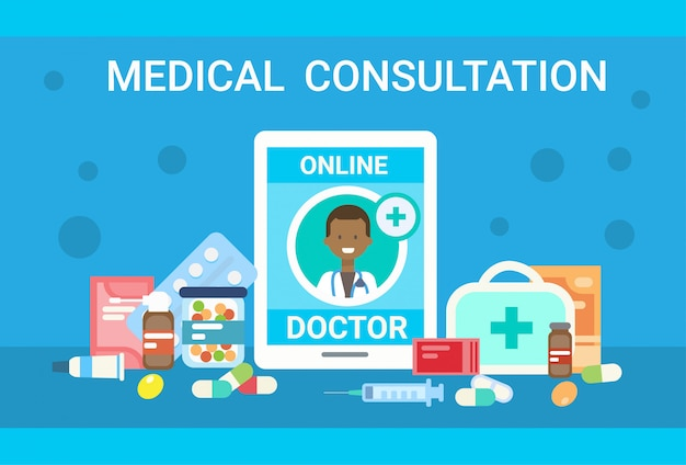 Medical consultation online doctor health care clinics hospital service medicine banner