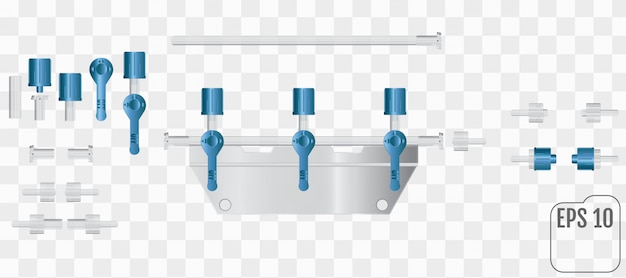 Медицинское преобразовательное устройство. набор частей редуктора на прозрачном фоне. часть системы для внутривенных инфузий