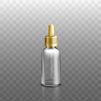 医療、化粧品のエッセンシャルオイルまたは液体顔血清ガラス瓶と黄金のスポイト、透明な背景のリアルなイラスト。