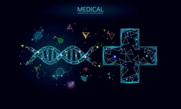 Medical cross dna gene therapy concept. medical consultation app. web healthcare diagnosis geometric modern hospital network banner. drugstore market background low poly
