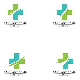 Medical cross and health pharmacy logo design template