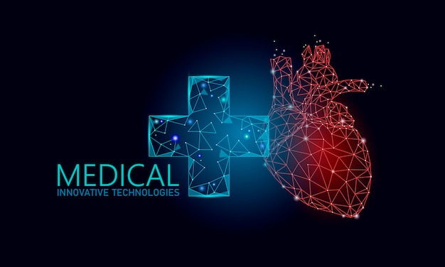 Medical cross healthy human heart 3d. medicine model low poly. doctor online concept. medical consultation app. web healthcare diagnosis geometric modern technology   illustration