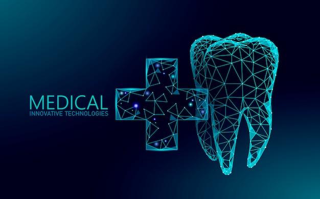 医療クロス健康な人間の歯3 d。医学モデル低ポリ。医師オンラインコンセプト。医療相談アプリ。 webヘルスケア歯科医口科医現代技術イラスト